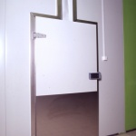 hinged door with upper rail
